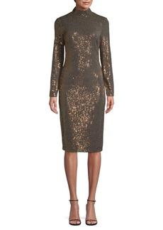 Badgley Mischka Metallic Sequined Knee-Length Dress