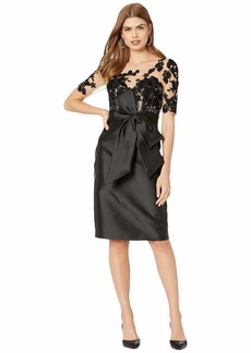 Badgley Mischka Mikado Cocktail Dress with Embroidered Tulle Sleeve