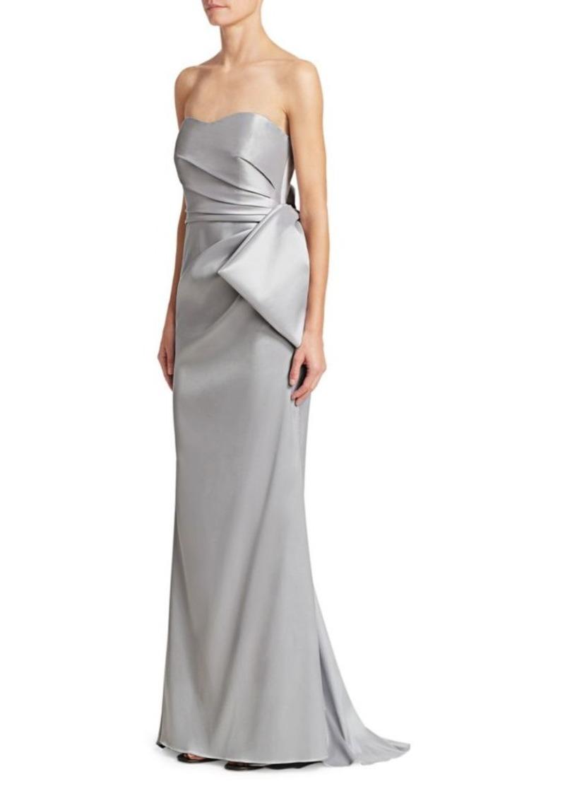 Mikado Strapless Flared Gown