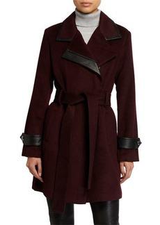 Badgley Mischka Millie Wool-Blend Faux Leather Coat