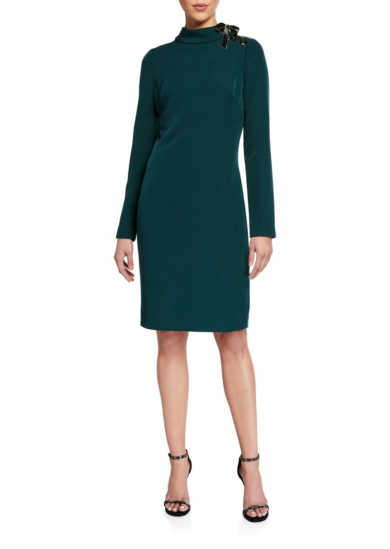 Badgley Mischka Mock-Neck Long-Sleeve Dress w/ Laced Ribbon Shoulder Detail