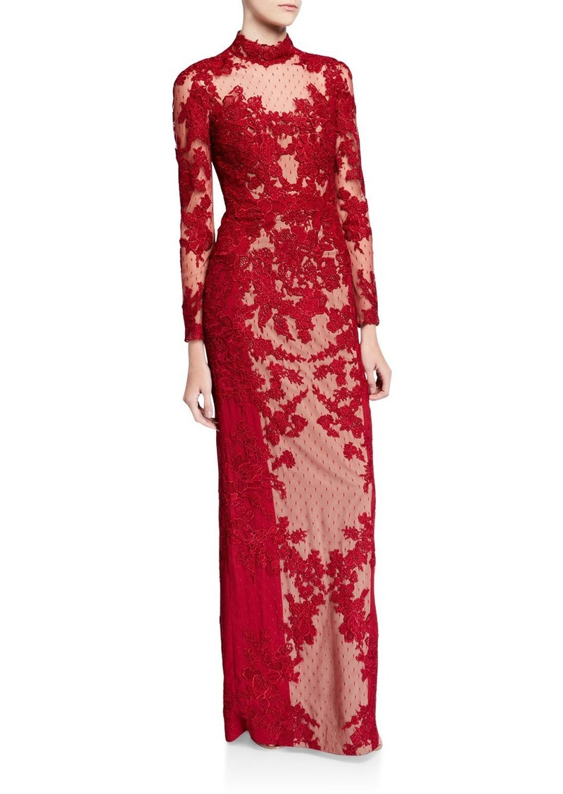 Badgley Mischka Mock-Neck Long-Sleeve Point d'Esprit Lace Illusion Gown