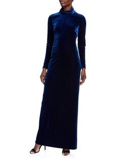 Badgley Mischka Mock Neck Long Sleeve Velvet Column Gown