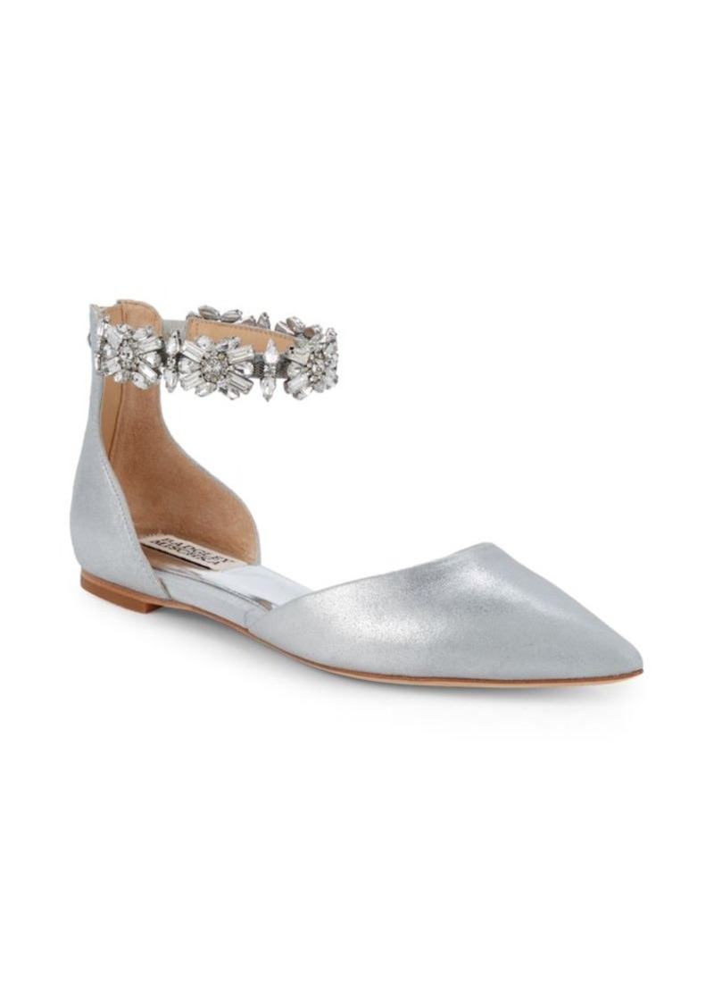 Badgley Mischka Morgen Embellished Ankle Flats