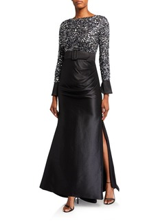 Badgley Mischka Multi Sequin Bodice Long-Sleeve Gown w/ Draped Mikado Skirt