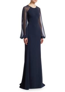 Badgley Mischka Odessa Blouson Sleeve Gown