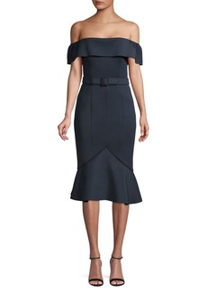 Badgley Mischka Off-Shoulder Scuba Dress