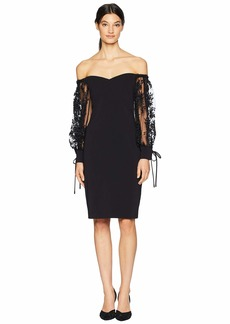 Badgley Mischka Off the Shoulder Beaded Sleeve