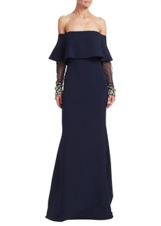 Badgley Mischka Off-The-Shoulder Beaded Sleeve Gown