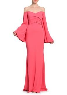 Badgley Mischka Off-the-Shoulder Bell-Sleeve Gown
