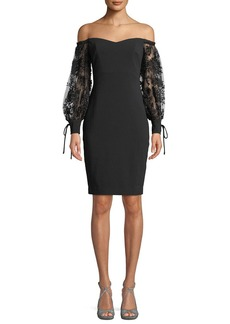 Badgley Mischka Off-the-Shoulder Dress w/ 3D Embroidered Sleeves
