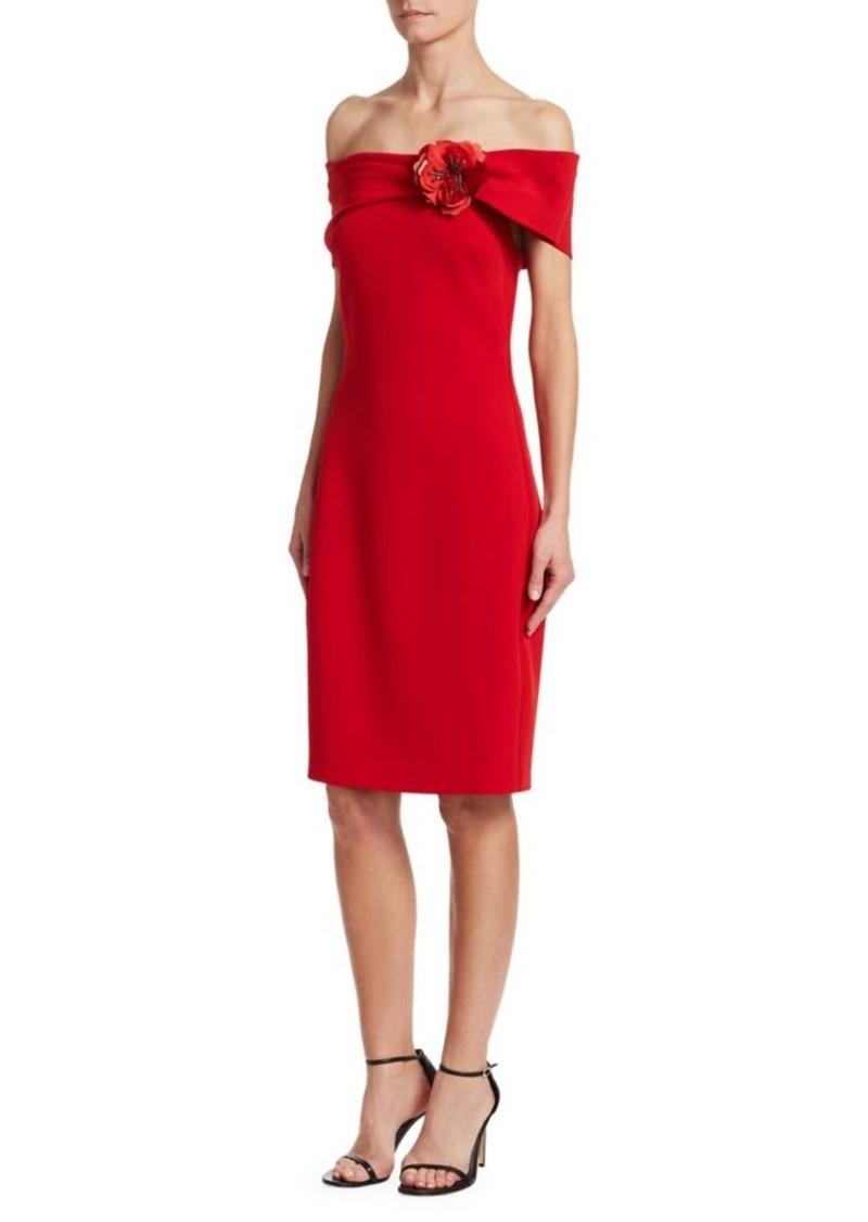 Badgley Mischka Off-The-Shoulder Embellished Brooch Dress