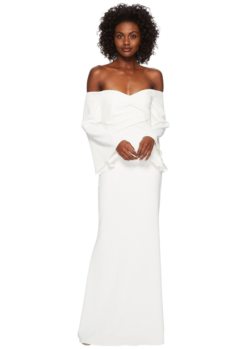 Badgley Mischka Off the Shoulder Flare Sleeve Gown in Stretch Crepe