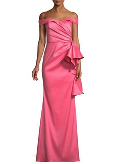 Badgley Mischka Off-the-Shoulder Gown w/ Side Ruffles