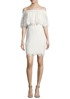 Badgley Mischka Off-the-Shoulder Lace Cocktail Dress