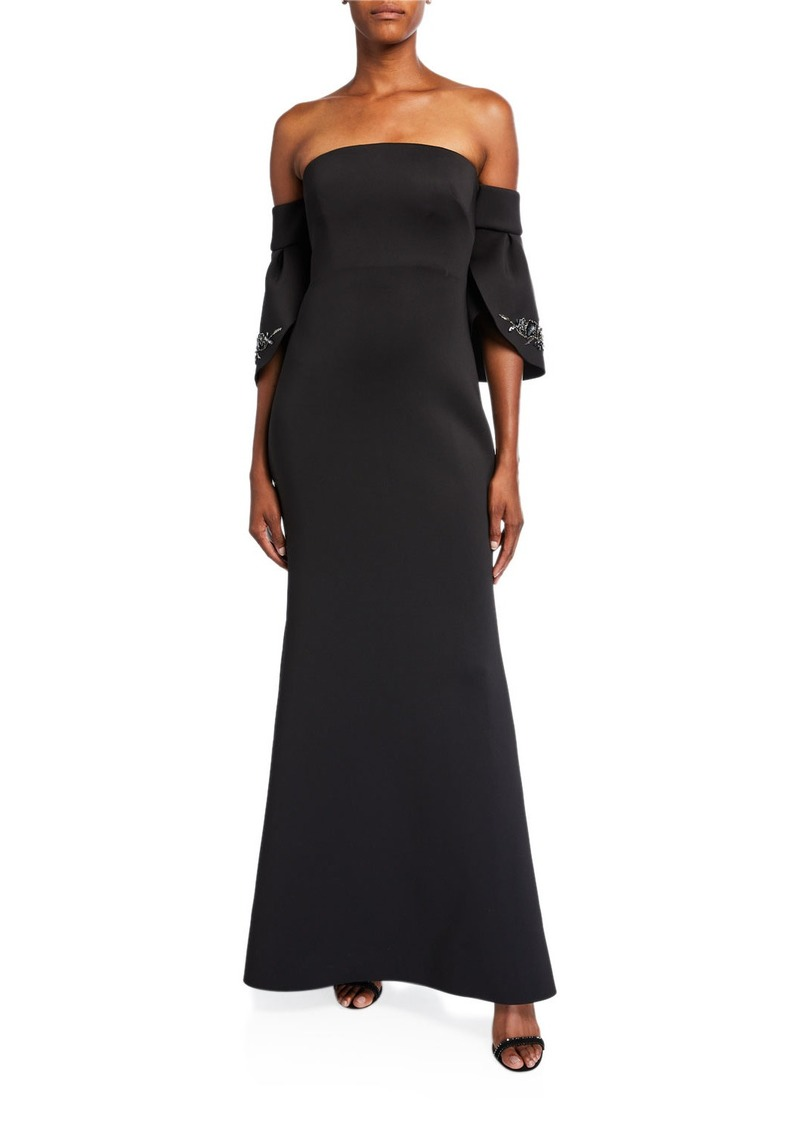 Badgley Mischka Off-the-Shoulder Petal-Sleeve Scuba Gown