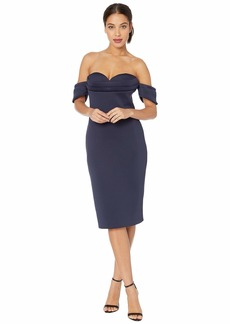 Badgley Mischka Off-the-Shoulder Scuba Cocktail with Sweetheart Neckline