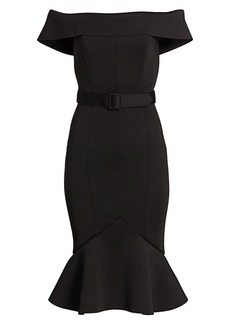 Badgley Mischka Off-the-Shoulder Scuba Dress