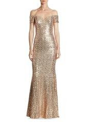 Badgley Mischka Off-The-Shoulder Sequin Gown