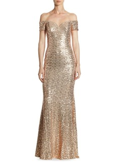 Badgley Mischka Off-The-Shoulder Sequin Gown