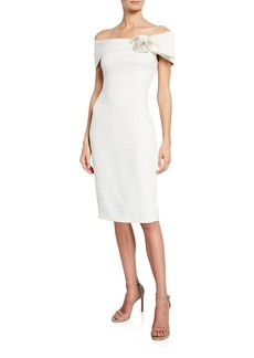 Badgley Mischka Off-the-Shoulder Short-Sleeve Sheath Dress w/ Flower Detail