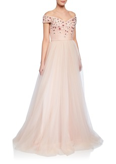 Badgley Mischka Off-the-Shoulder Short-Sleeve Tulle Ball Gown w/ Floral Appliques