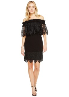 Badgley Mischka Off the Shoulder Silk Dress Trimmed in Lace