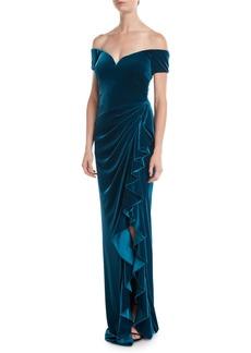 Badgley Mischka Off-the-Shoulder Velvet Gown Dress
