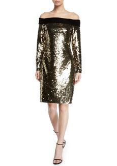 Badgley Mischka Off-the-Shoulder Velvet-Trim Sequin Cocktail Dress