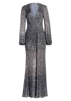 Badgley Mischka Ombré Sequin Puff-Sleeve Drape Column Gown