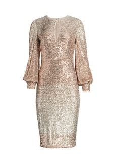Badgley Mischka Ombre Puff-Sleeve Sequin Sheath Dress