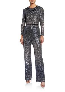 Badgley Mischka Ombre Sequin Cowl-Neck Long-Sleeve Jumpsuit