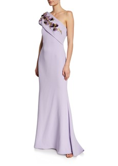 Badgley Mischka One-Shoulder Gown w/ Embellished Flower Sash Detail
