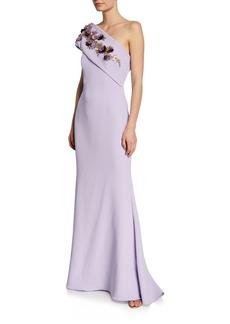 Badgley Mischka One-Shoulder Gown w/ Embellished Flower Sash Detail