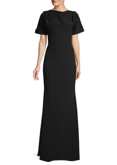 Badgley Mischka Open-back Boatneck Gown
