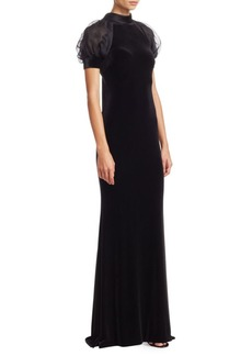 Badgley Mischka Organza Puff-Sleeve Velvet Bodycon Dress