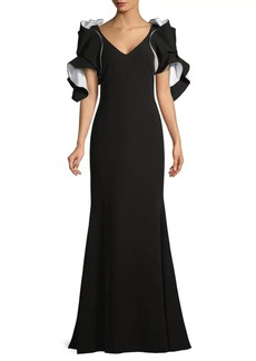 Badgley Mischka Origami Ruffled-Sleeve Gown