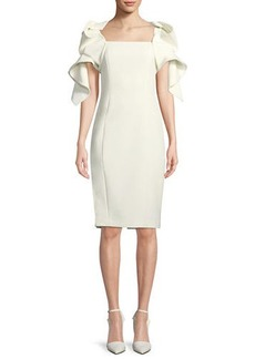 Badgley Mischka Origami-Sleeve Cocktail Sheath Dress