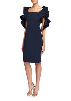 Badgley Mischka Origami-Sleeve Sheath Dress