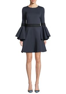 Badgley Mischka Oversized Trumpet-Sleeve Mini Dress