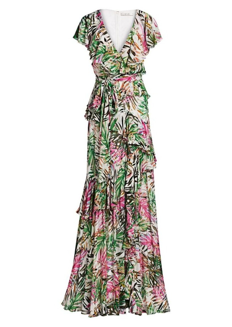 Badgley Mischka Palm Print Ruffled Wrap Gown