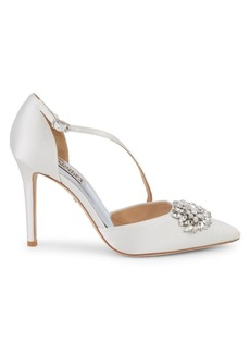 Badgley Mischka Palma Bejewled Satin d'Orsay Pumps