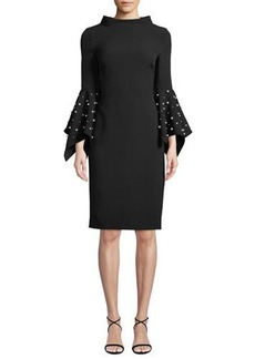 Badgley Mischka Pearly Bell-Sleeve Sheath Dress