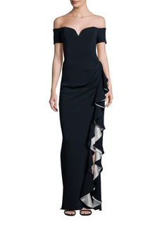 Badgley Mischka Platinum Silk Blend Off-the-Shoulder Draped Ruffle Gown