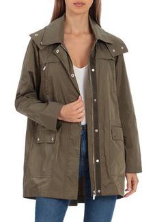 Badgley Mischka Pleat-Back Rain Jacket