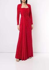 Badgley Mischka pleated drape gown