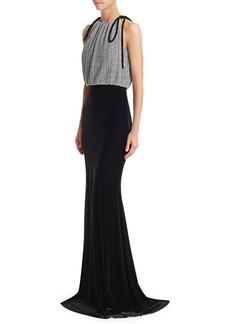 Badgley Mischka Pleated Metallic Lurex Dress