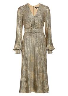 Badgley Mischka Plissé Foil Metallic Belted Puff-Sleeve A-Line Midi Dress