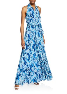 Badgley Mischka Printed Button-Front Halter Shirt Gown