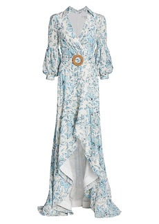 Badgley Mischka Printed Eyelet High-Low Gown